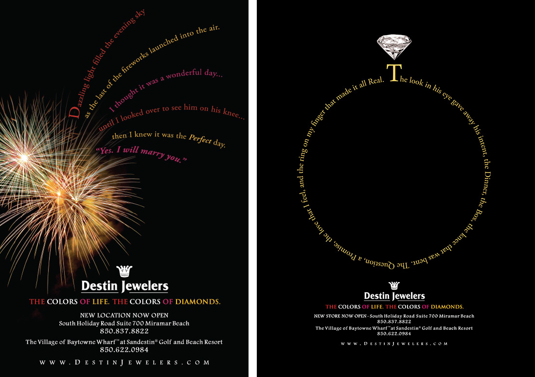 Destin Jewelers Print Ads branding design