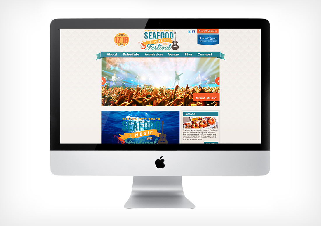 Panama City Beach 2014 Seafood Festival Web Page design website homepage branding html