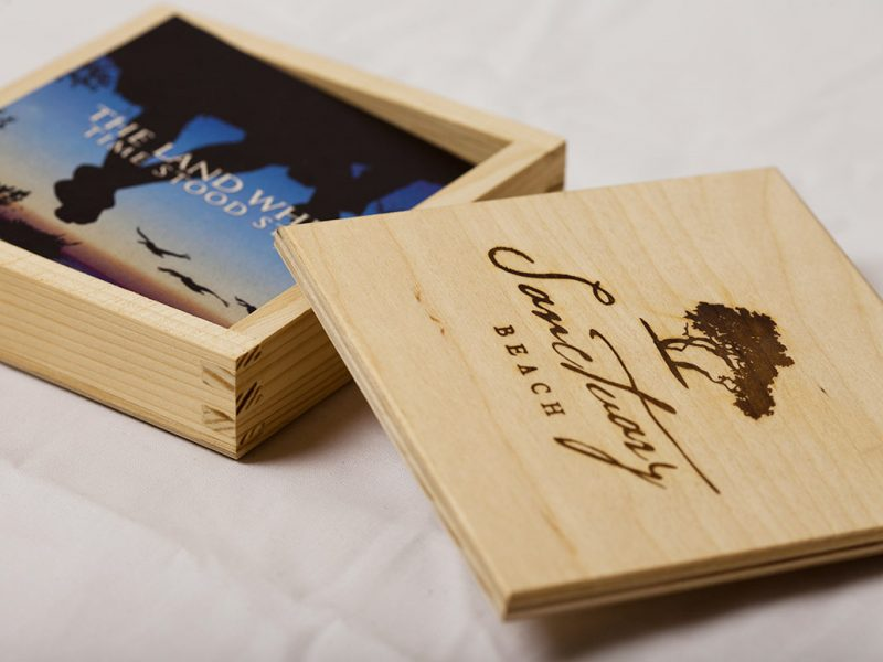 Sanctuary Beach Opening Invitation Box packaging branding