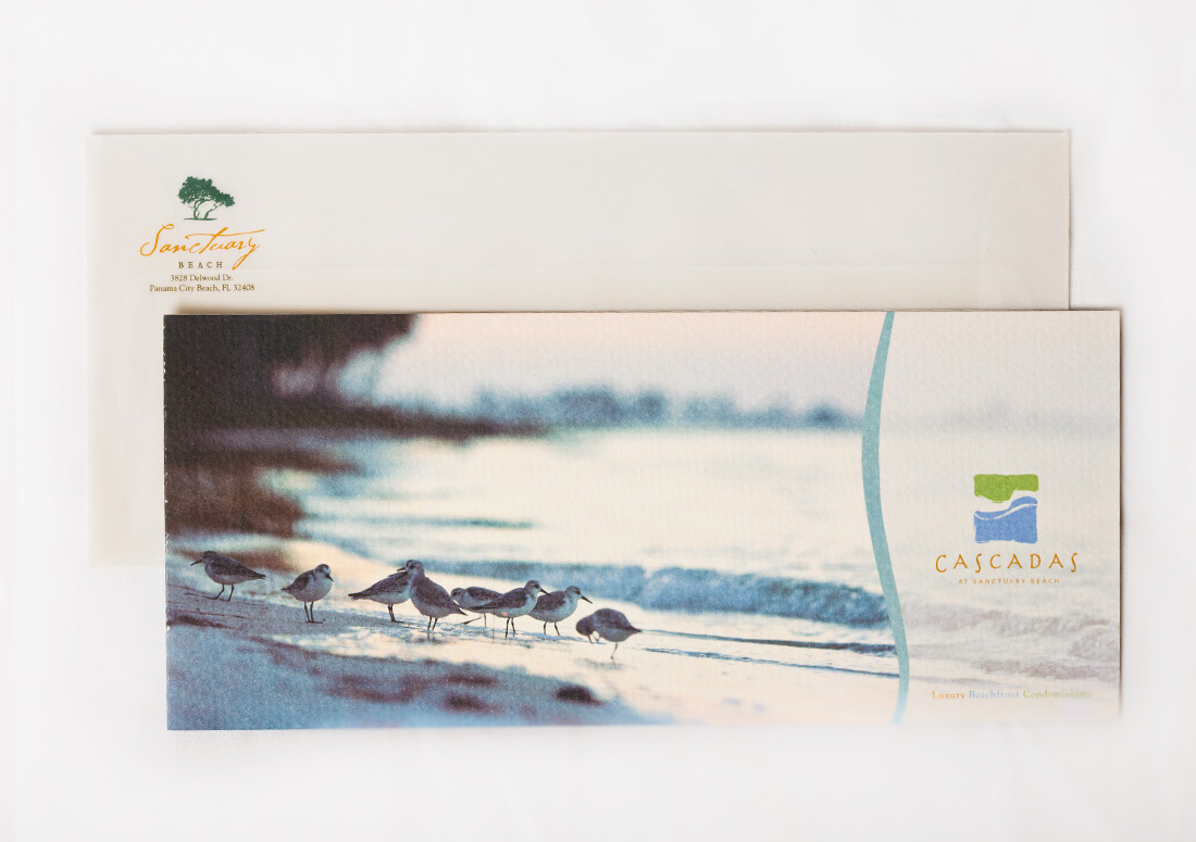 Sanctuary Beach Opening Invitation packaging branding