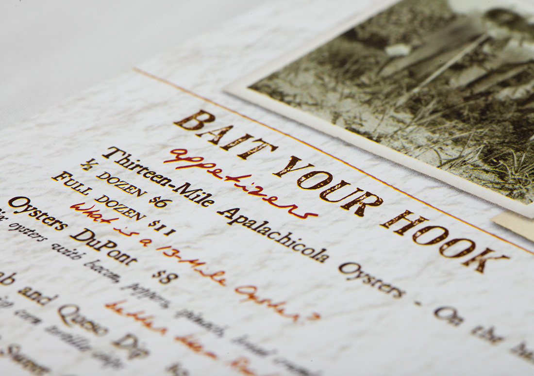 St Joe Bait House Menu branding design print