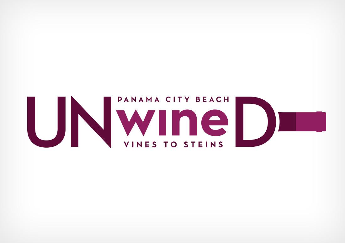 Panama City Beach UNwineD Logo branding design