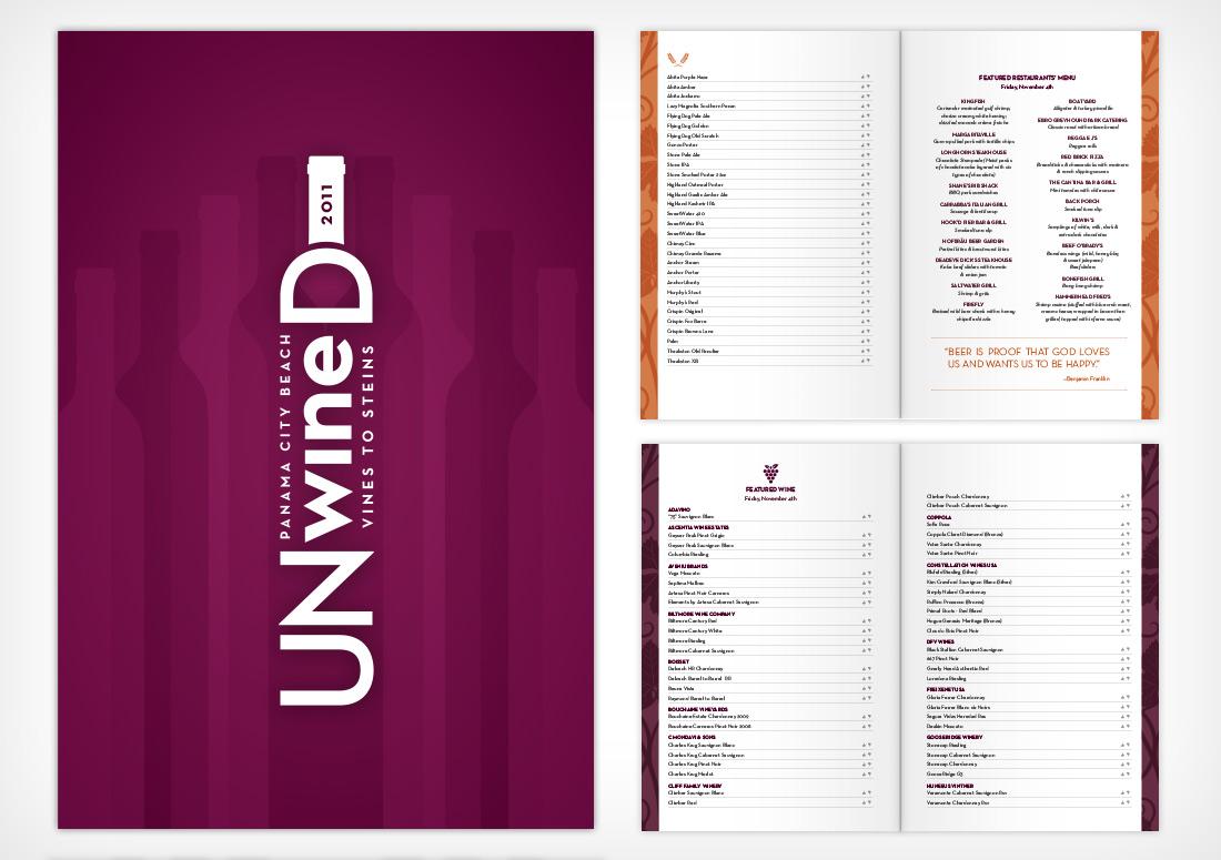 Panama City Beach UNwineD Booklet print branding design