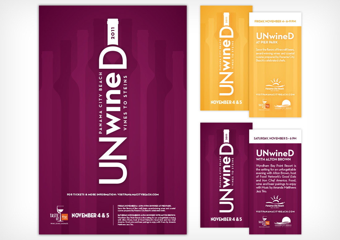 Panama City Beach UNwineD Poster and Tickets branding design print