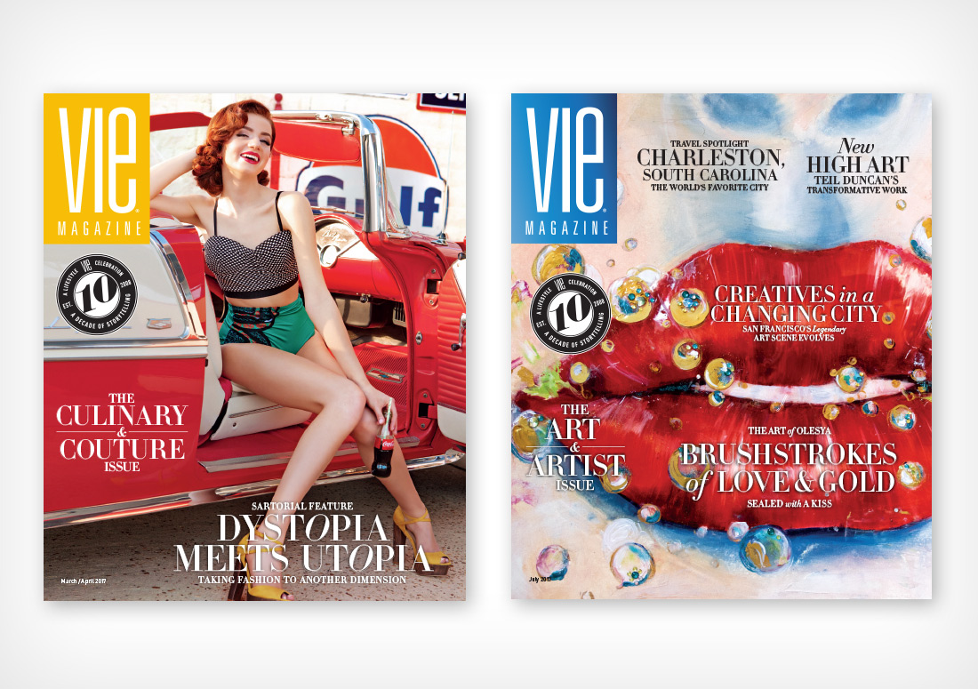 VIE Magazine Covers for March/April 2017 (Photo by Carlo Pieroni) and July 2017