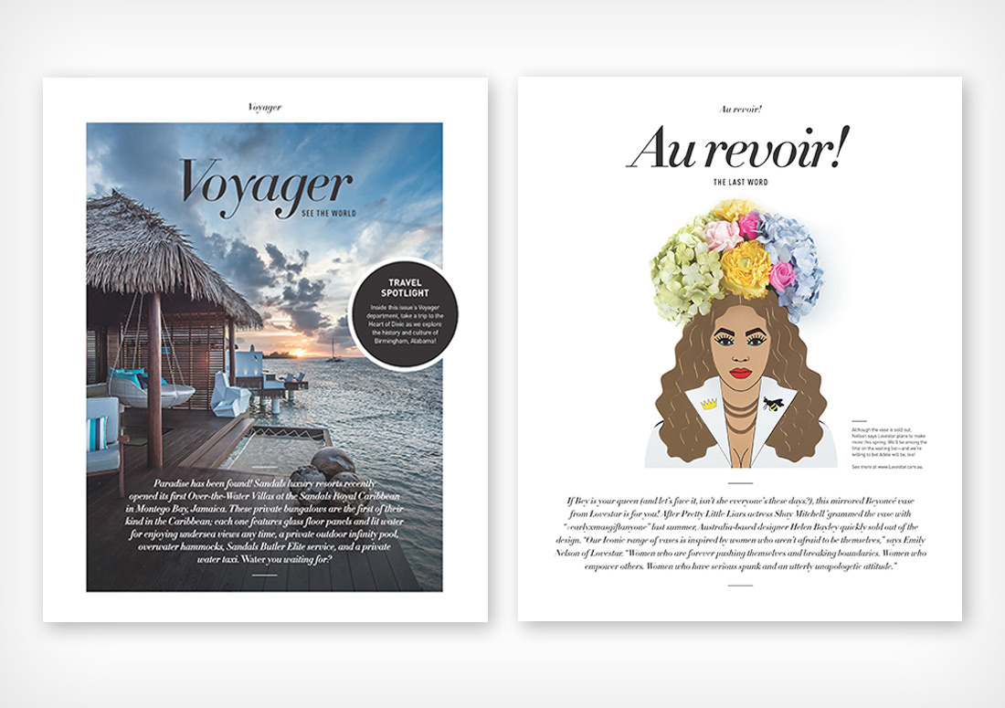 VIE Magazine Department pages Voyager and Au revoir