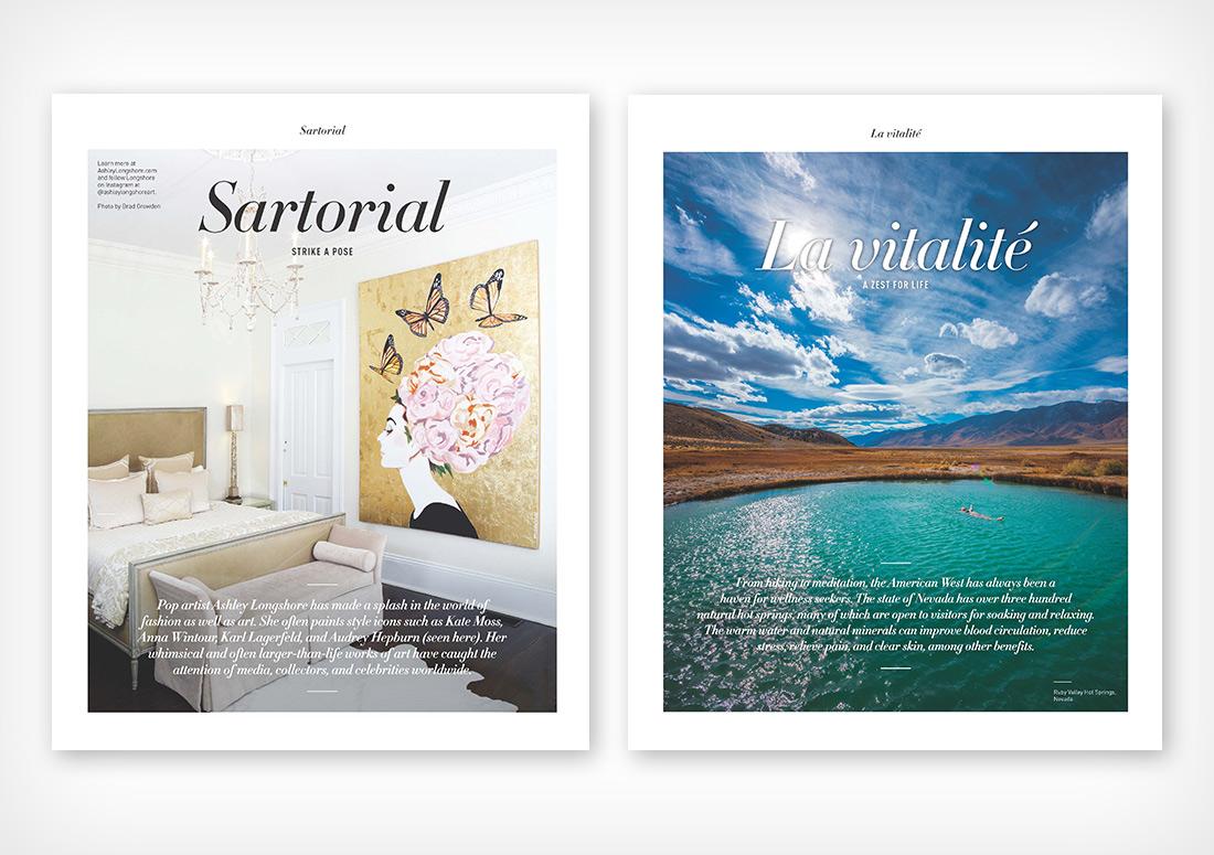 VIE Magazine Department pages Sartorial and La vitalite