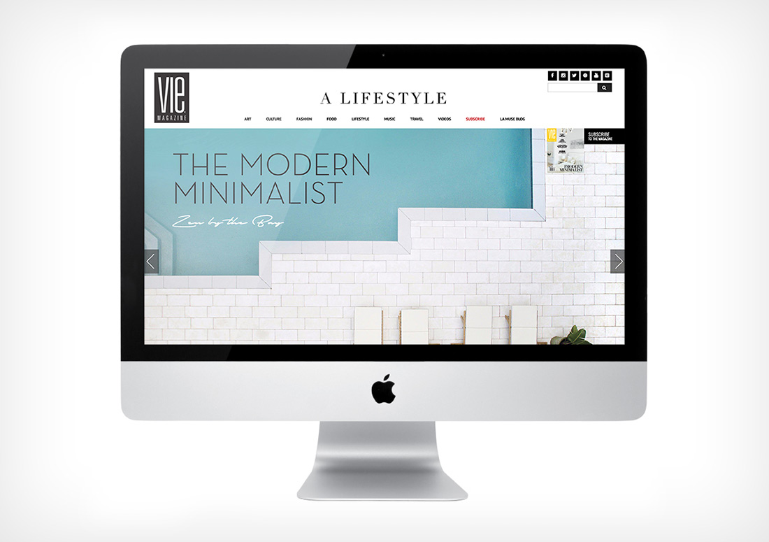 VIE Magazine Website Homepage web publication publishing design branding