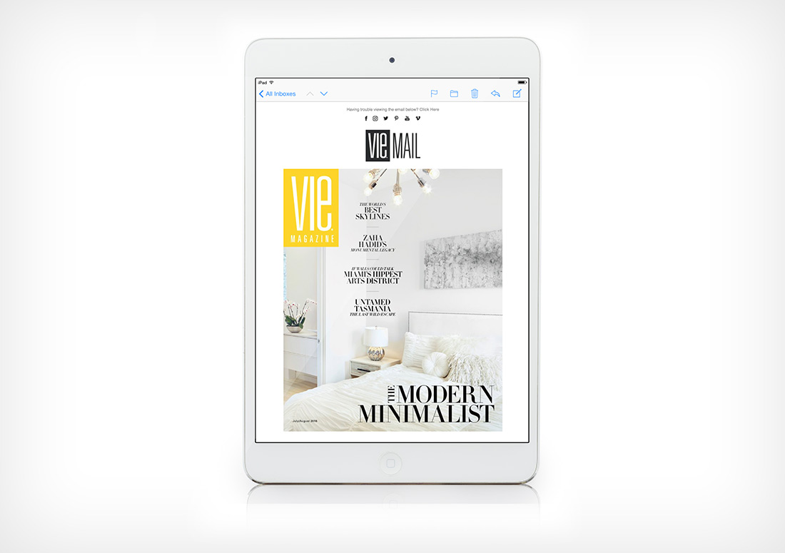 VIE Magazine Eblast web email publication publishing design branding