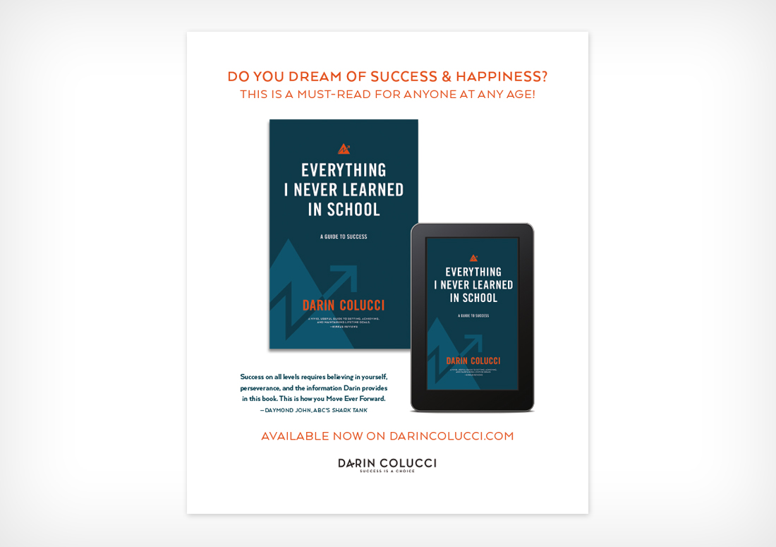 Darin Colucci book advertisement, Everything I Never Learned in School: A Guide to Success