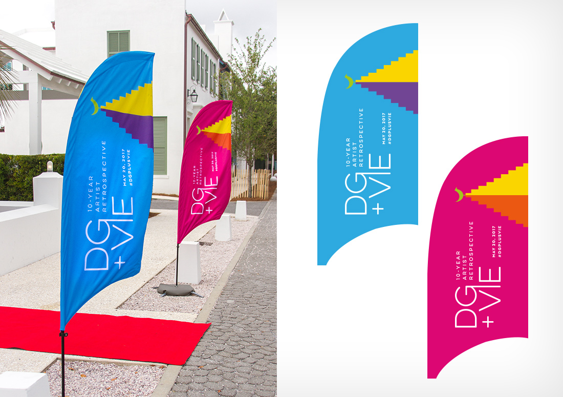 VIE Magazine pre-party and digital art gallery for Digital Graffiti 2017 banner flags, hosted in Alys Beach, Florida