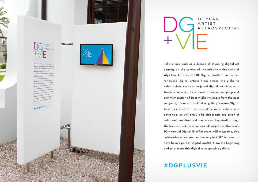 VIE Magazine pre-party and digital art gallery for Digital Graffiti 2017 description, hosted in Alys Beach, Florida
