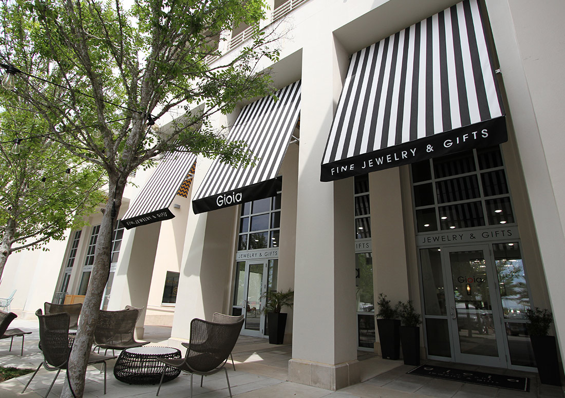 Gioia Fine Jewelry & Gifts awning design installation in Seaside Florida