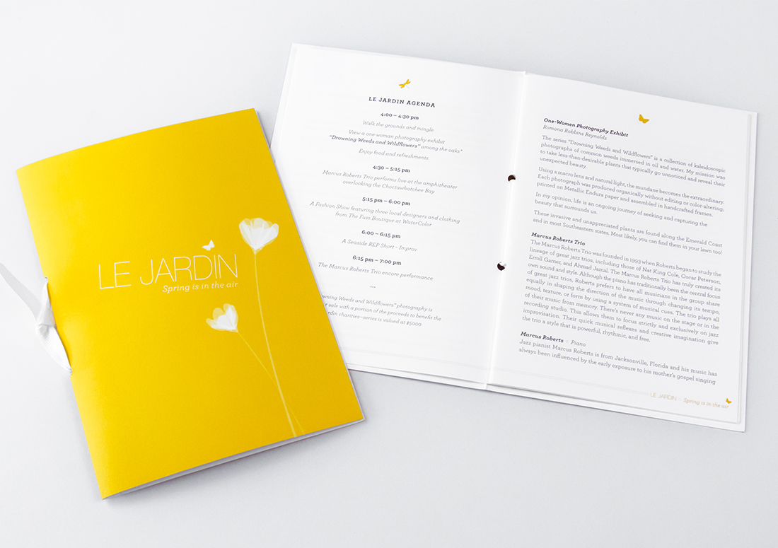 VIE Magazine Le Jardin event celebrating two years, program book.