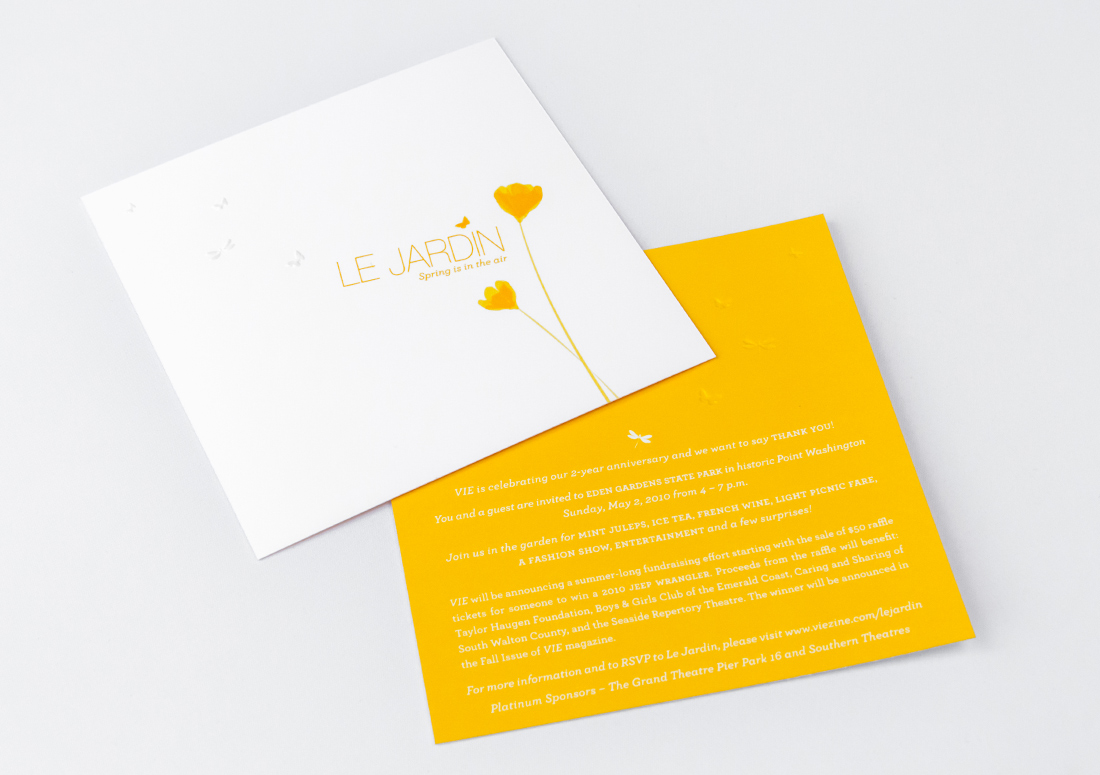 VIE Magazine Le Jardin event celebrating two years, invitation.