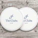 The Clubs by Joe logo on coasters