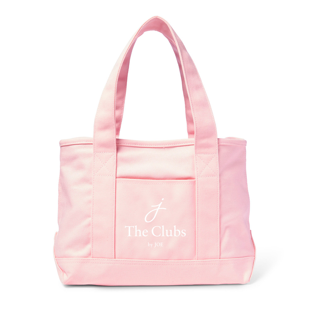 The Clubs by Joe logo on pink tote bag