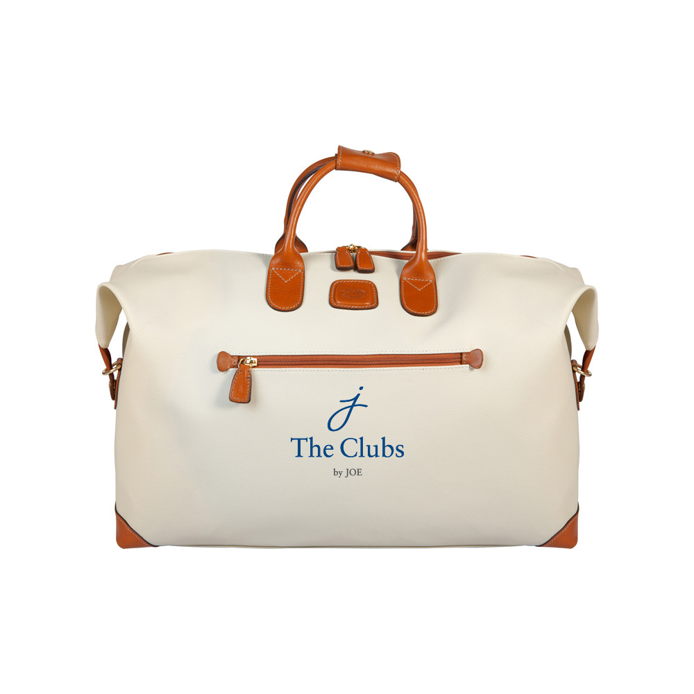The Clubs by Joe logo on leather overnight bag