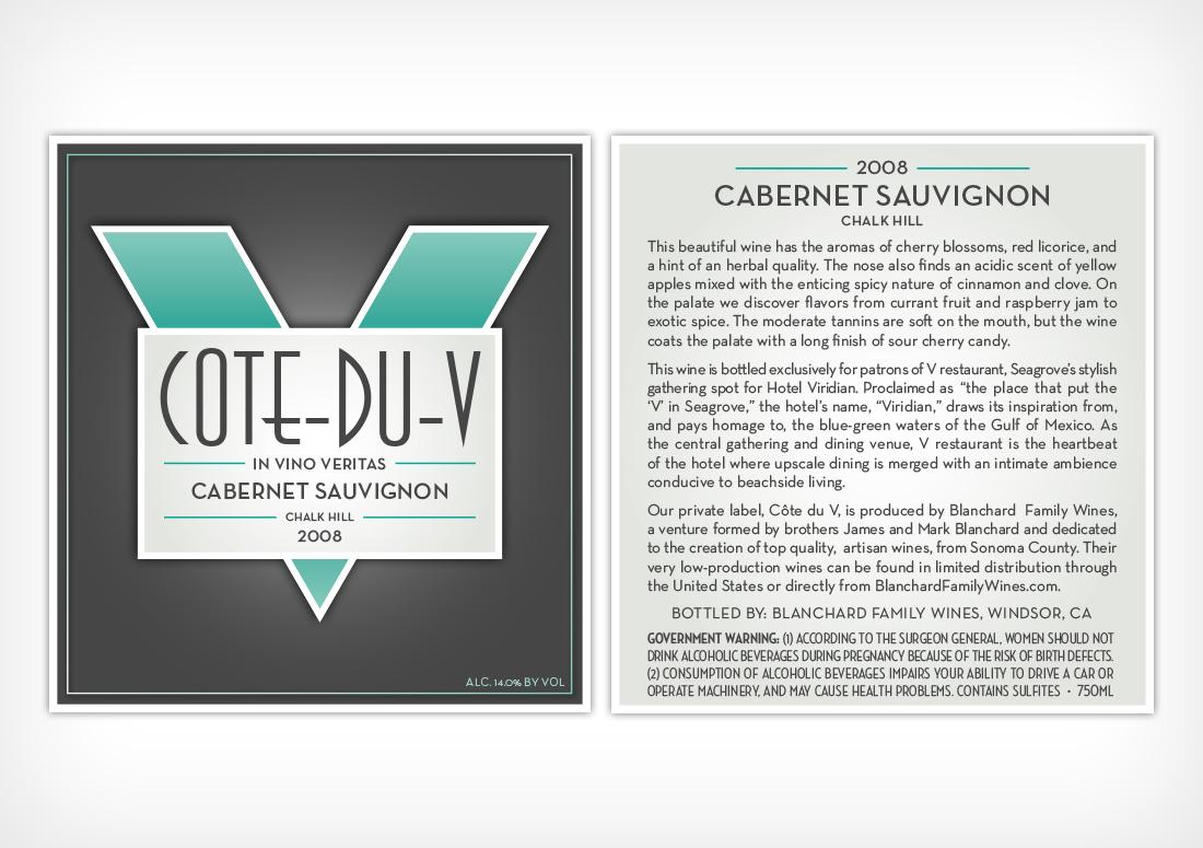 V Seagrove Cote-Du-V Custom Wine Bottle Label