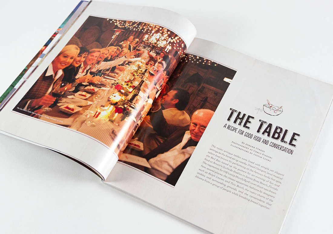 VIE Magazine layout featuring Farm to Table event