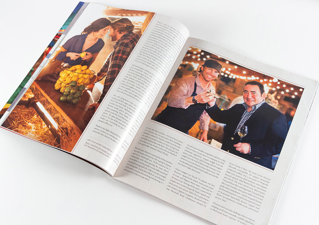 VIE Magazine layout featuring Farm to Table event, Emerial Lagasse, Phil and Madra McDonald