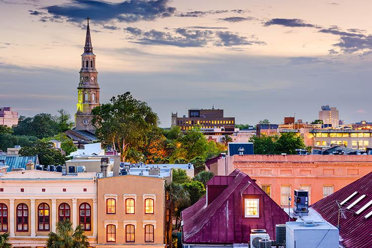 The colorful buildings of Charleston South Carolina
