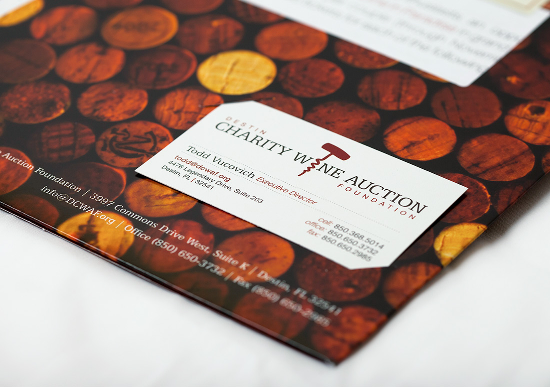 Destin Charity Wine Auction Foundation Folder Business Card print design branding