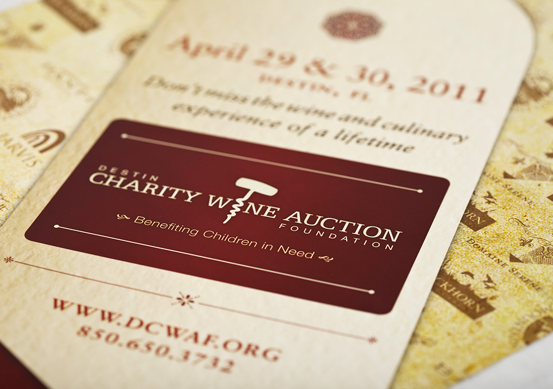 Destin Charity Wine Auction Foundation Poster design branding print