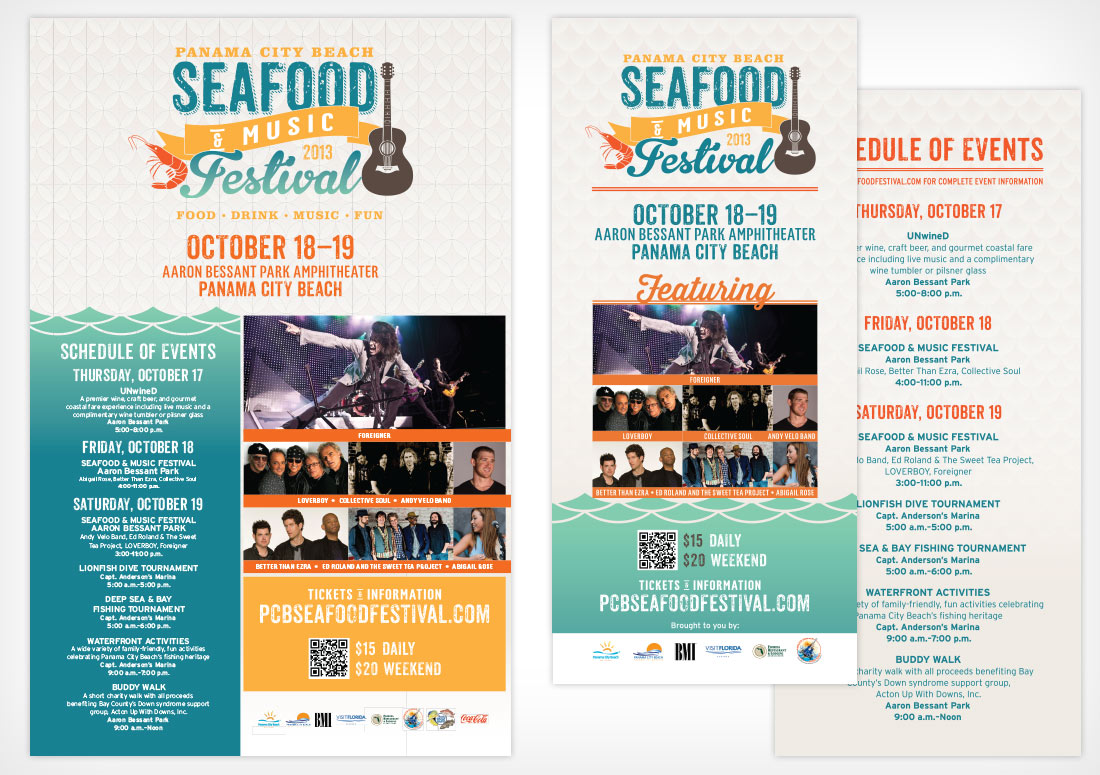 Panama City Beach 2013 Seafood Festival Collateral posters rack card design branding print