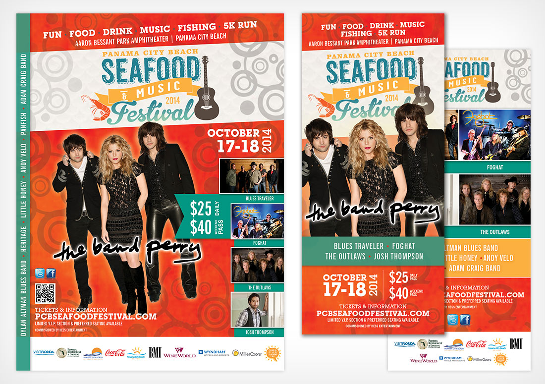 Panama City Beach 2014 Seafood Festival Collateral poster rack card print advertising design