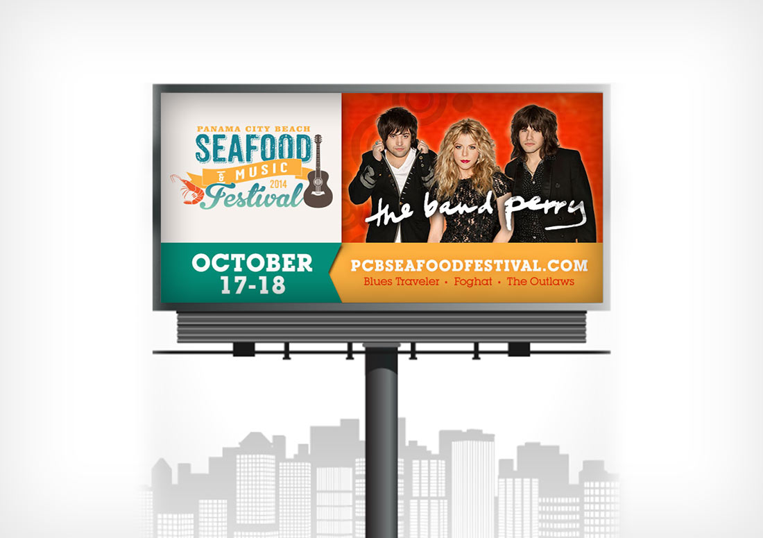 Panama City Beach 2014 Seafood Festival Billboard advertising print branding design