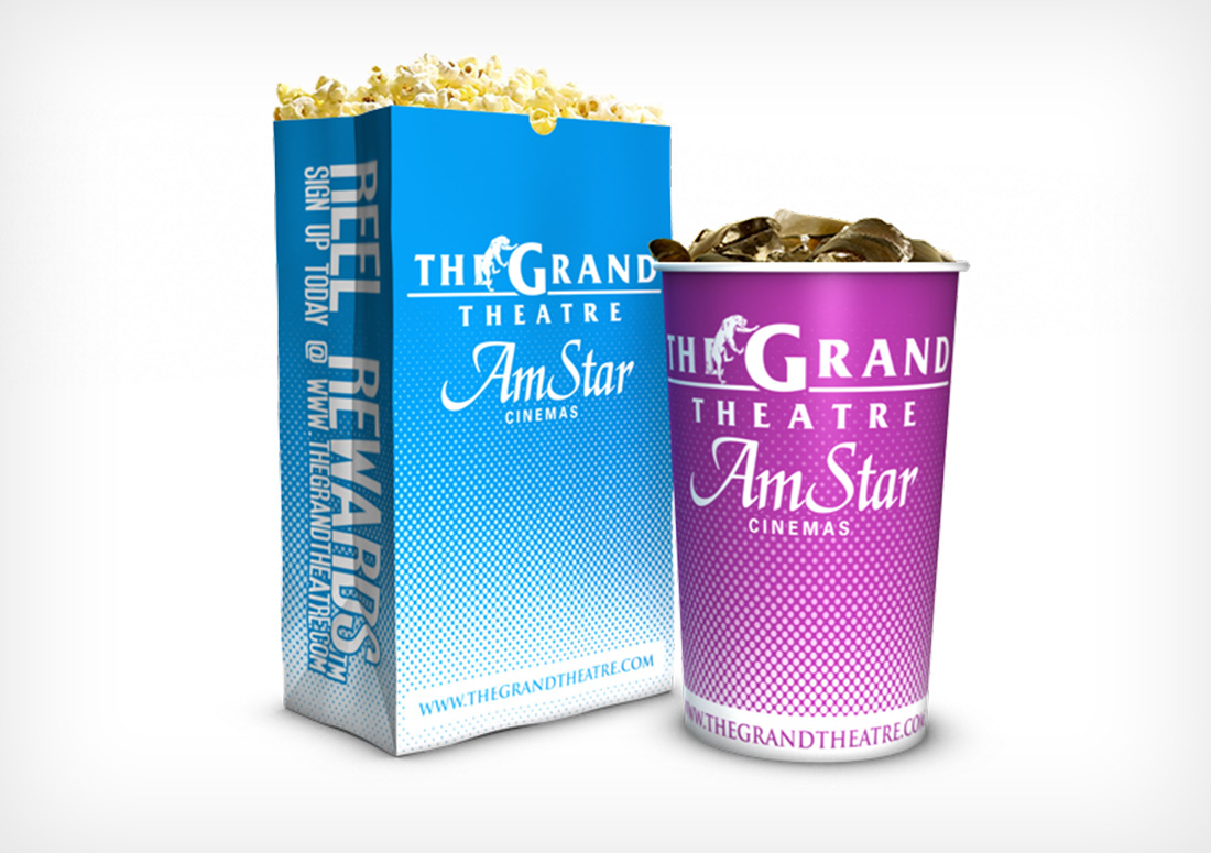 Reel Rewards Cup and Popcorn Bag Design packaging branding