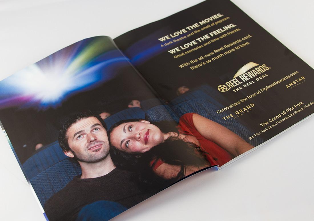 Reel Rewards Full Spread Print Ad publication design branding