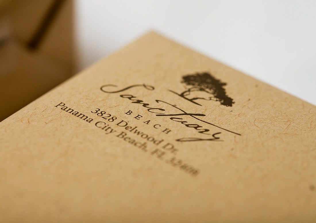 Sanctuary Beach Opening Invitation Box packaging branding