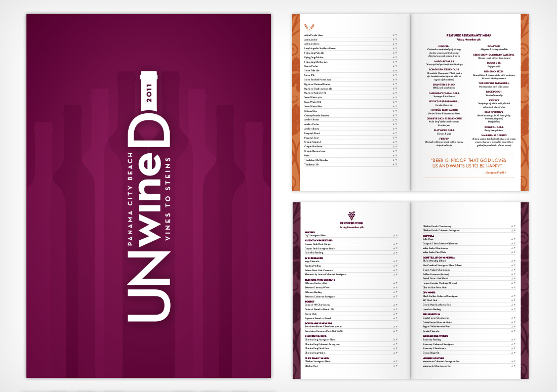 Panama City Beach UNwineD Booklet print branding design