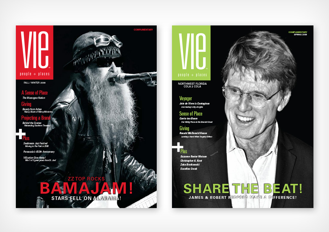 VIE Magazine Covers, Fall/Winter 2008 and Spring 2009, ZZ Top and Robert Redford