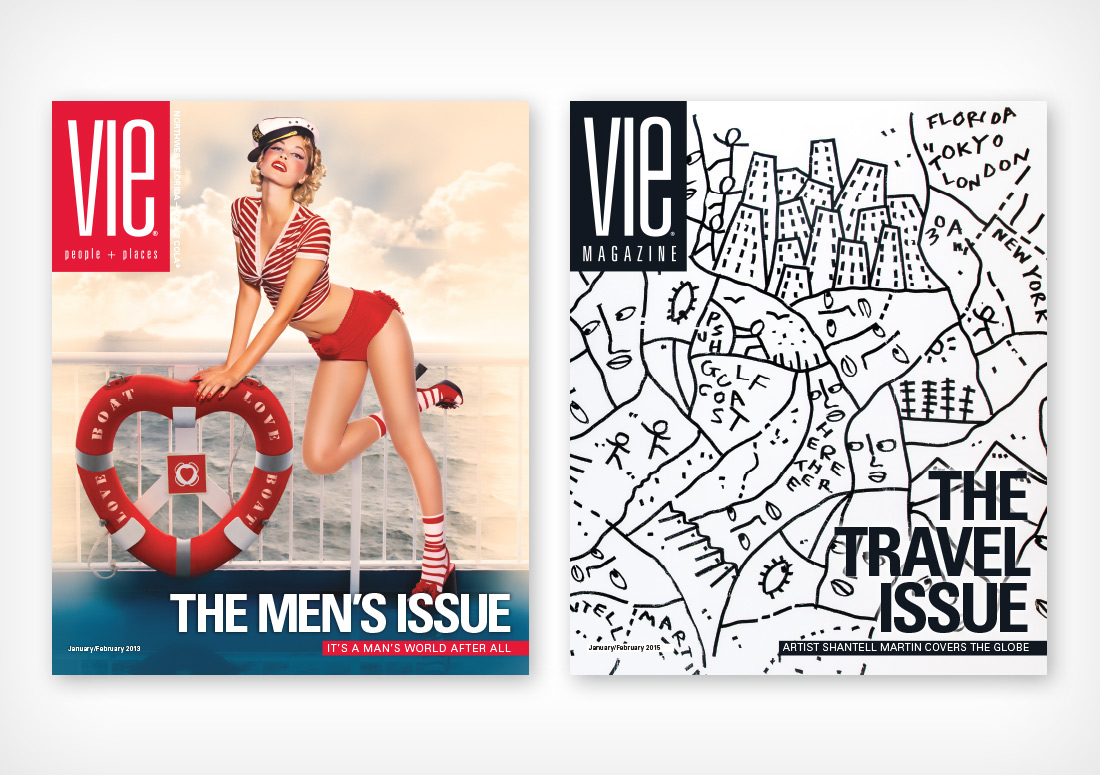 VIE Magazine Covers January/February 2013 (Photo by Carlo Pieroni) and January/February 2015 with Shantell Martin