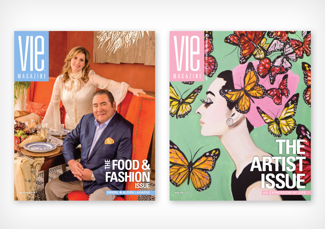 VIE Magazine Covers March/April 2014 with Emeril and Alden Lagasse, and May/June 2013 with Ashley Longshore Audrey Hepburn Painting
