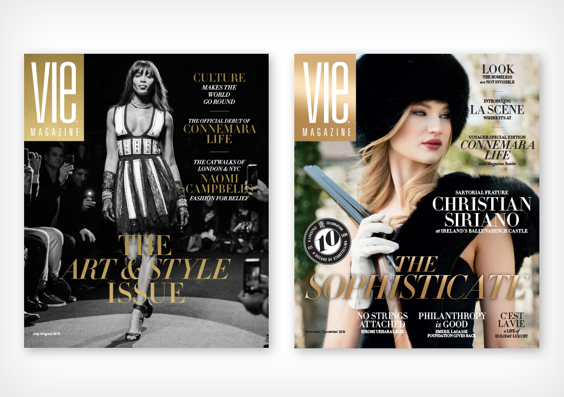 VIE Magazine Covers July/August 2015 with Naomi Campbell and November/December 2016 featuring Christian Siriano fashion