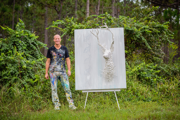 Justin Gaffrey Deer Head painting