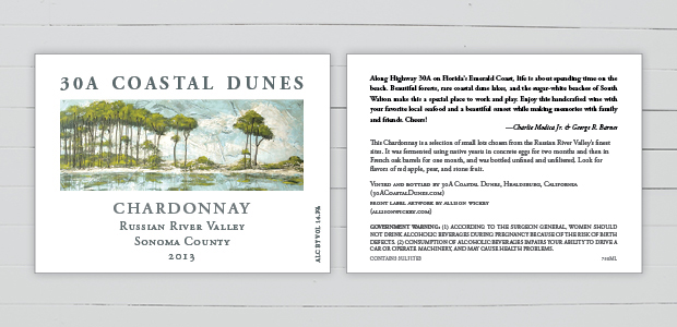 30A Coastal Dunes Wine Company Wine Label