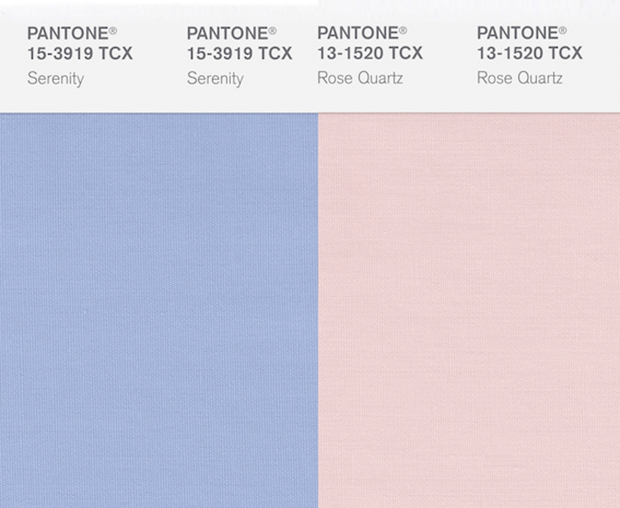 Serenity and Rose Quartz Pantone Color Swatches