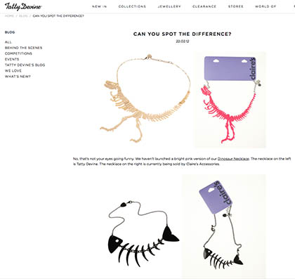 Tatty Devine vs Claire Accessories Design Plagiarism