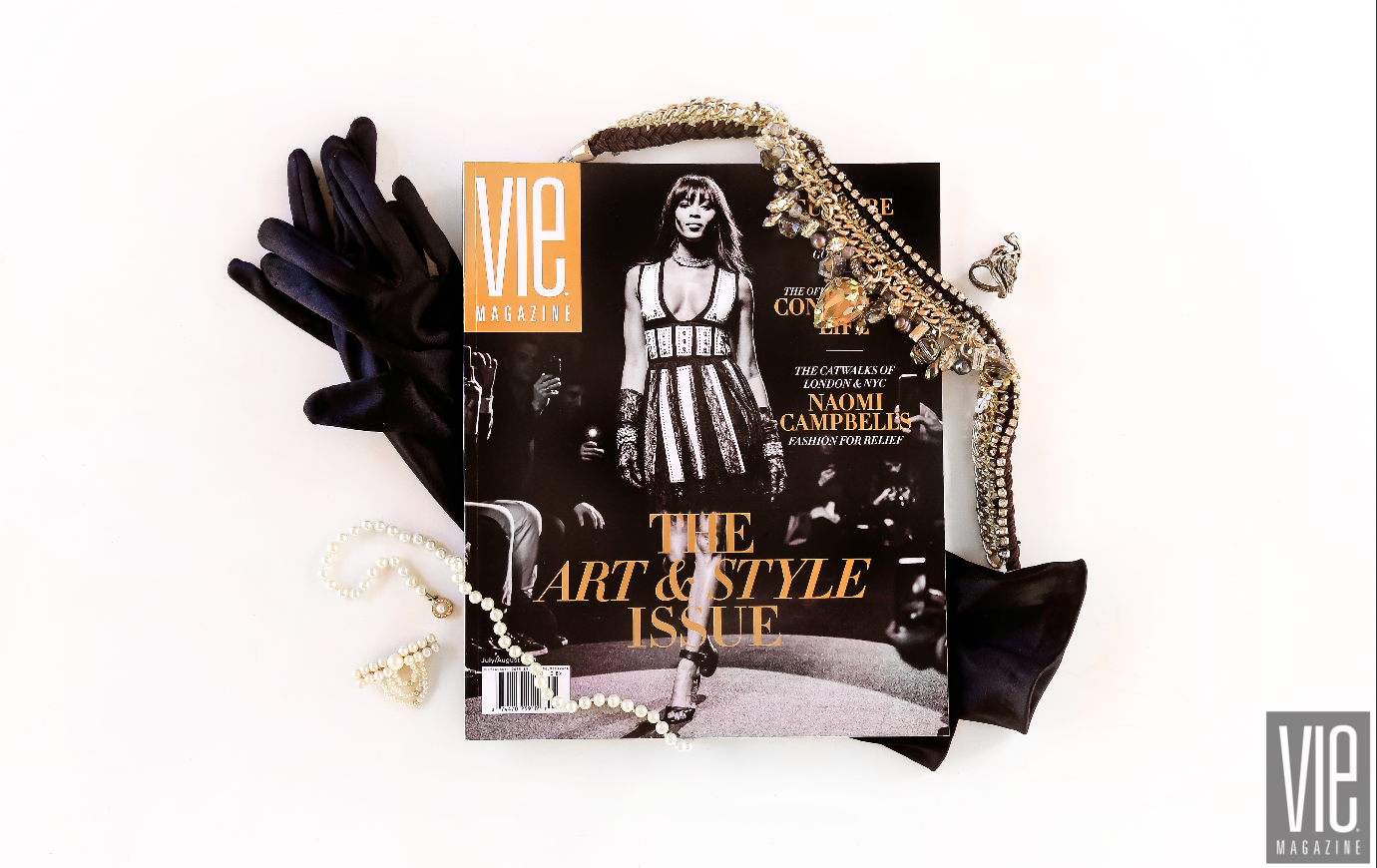 Flatlay photography technique of VIE Magazine by Brenna Kneiss