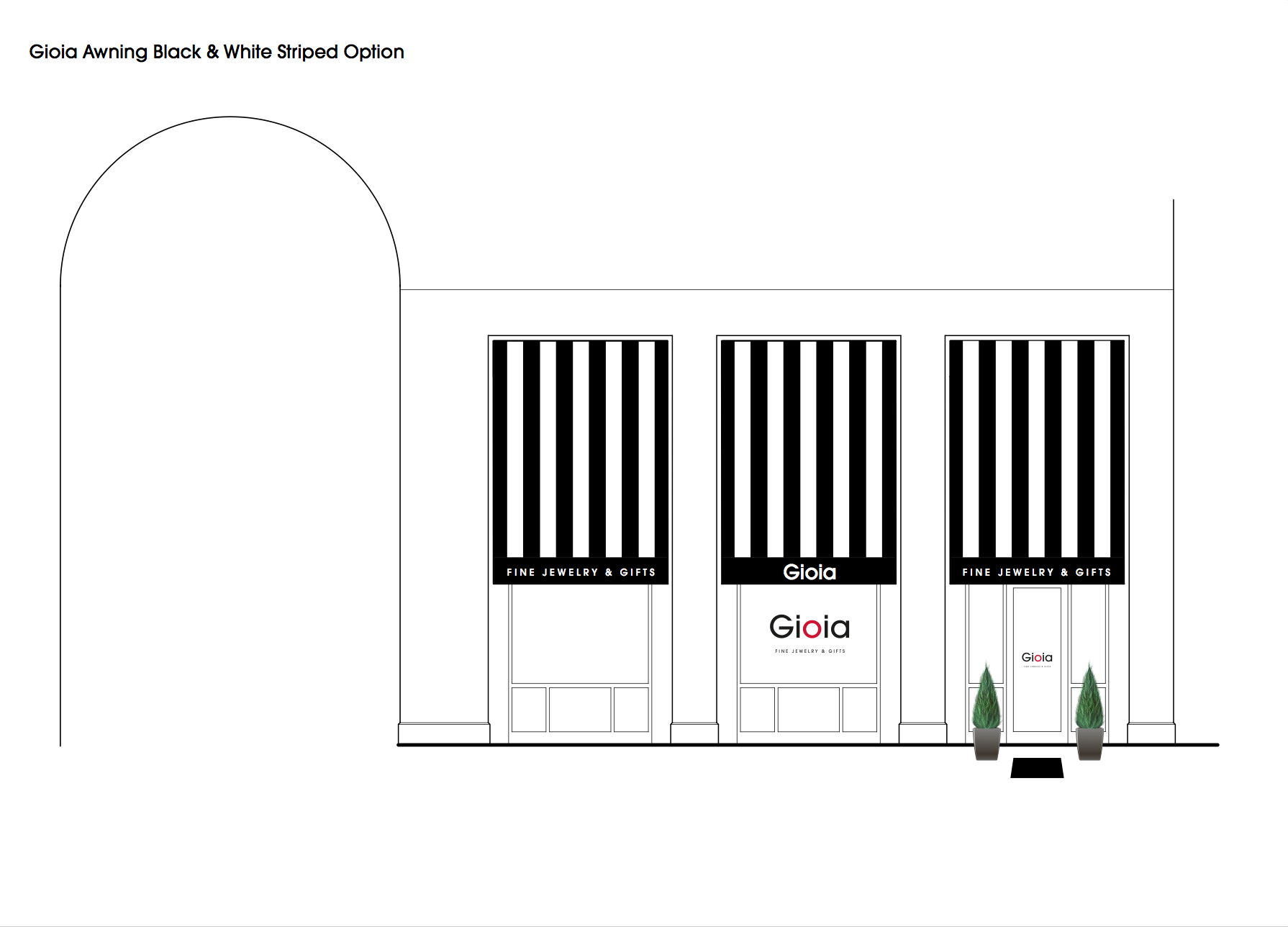 Rendering of Gioia's awnings designed by The Idea Boutique