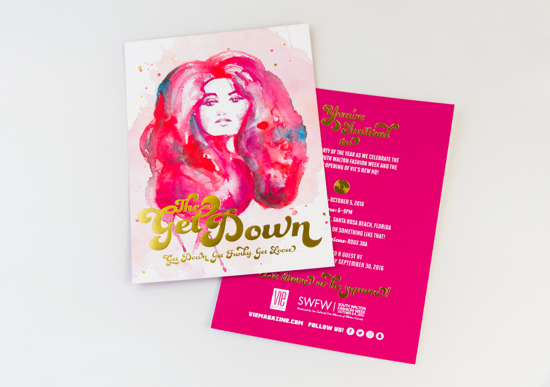 The Get Down invitation, hosted by VIE Magazine for South Walton Fashion Week 2016