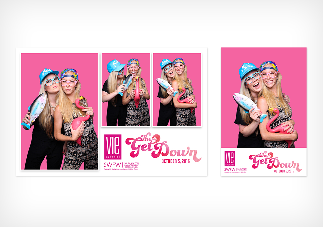 The Get Down photo booth prints, hosted by VIE Magazine for South Walton Fashion Week 2016