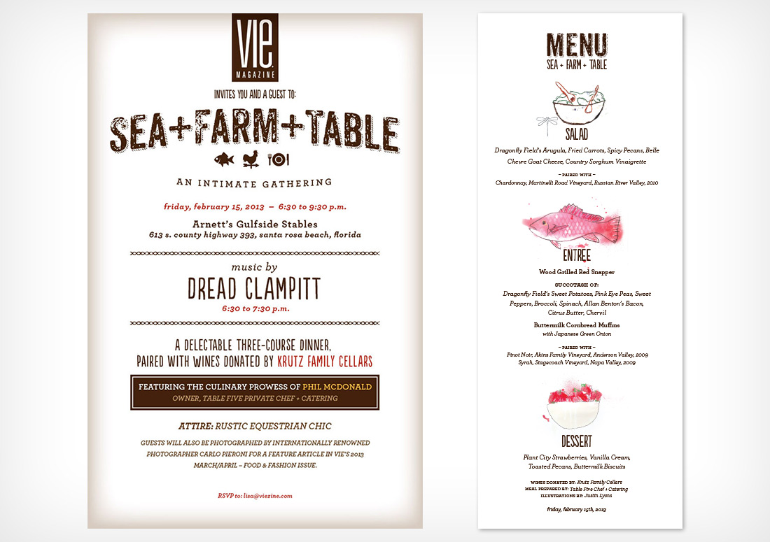 Poster and Menu of VIE Magazine Farm to Table at Arnett's Gulfside Stables