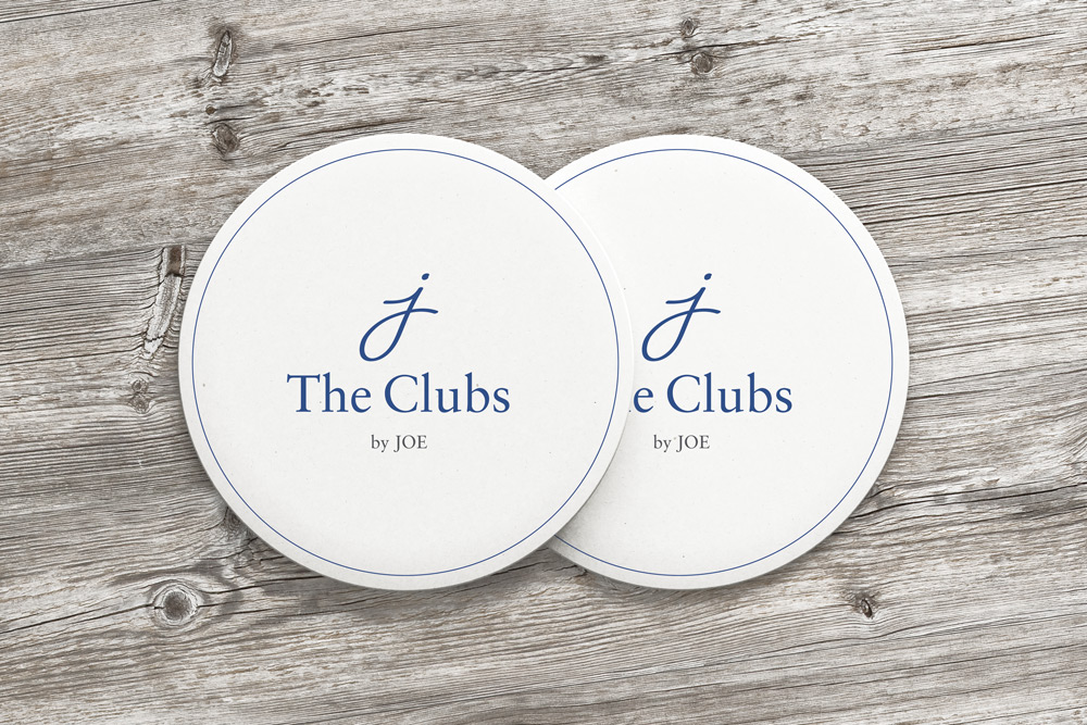 The Clubs by Joe logo on coasters