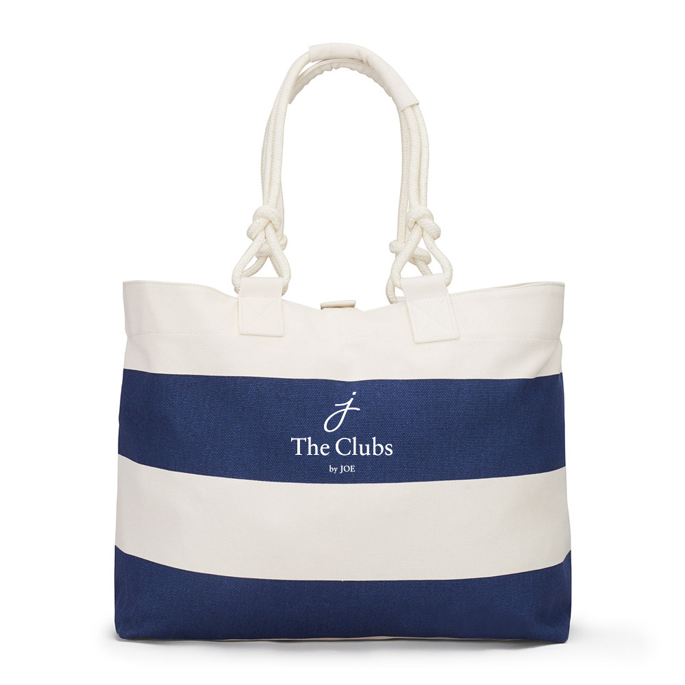 The Clubs by Joe logo on nautical tote bag